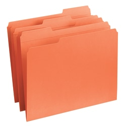 Smead® 1/3-Cut 2-Ply Color File Folders, Letter Size, Orange, Box Of 100