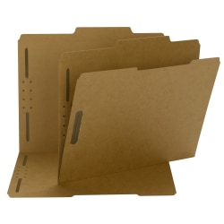 "Smead® Kraft Reinforced Tab Fastener Folders, 3/4"" Expansion, 8 1/2"" x 11"", Letter, Brown, Box of 50"
