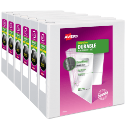 """Avery® 4"""" Durable View Binder - DuraHinge - 4"""" EZD One Touch Rings - 4"""" Binder Capacity - Letter - 8 1/2"""" x 11"""" Sheet Size - 780 Sheet Capacity - 3 x D-Ring Fastener(s) - 4 Internal Pocket(s) - Poly - White"""