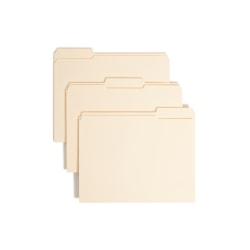 Smead® Manila Reinforced Tab Fastener Folders, Letter Size, 1/3 Cut, Pack Of 50