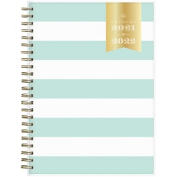 """Day Designer Academic Weekly/Monthly Planner, 8-5/8"""" x 5-7/8"""", White/Mint, July 2021 To June 2022, 128056"""