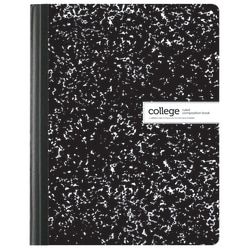 "Office Depot® Brand Composition Book, Marble, 7 1/2"" x 9 3/4"", College Ruled, 100 Sheets, Black/White"