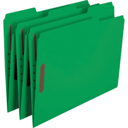 Smead® Color Reinforced Tab Fastener Folders, Letter Size, 1/3 Cut, Green, Pack Of 50