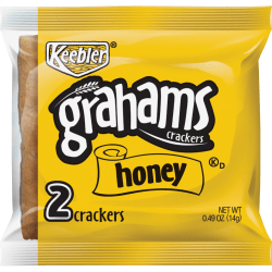 Keebler Grahams Honey Crackers - Individually Wrapped - Honey - 0.49 oz - 200 / Carton