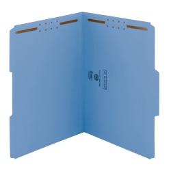 Smead® Color Reinforced Tab Fastener Folders, Letter Size, 1/3 Cut, Blue, Pack Of 50