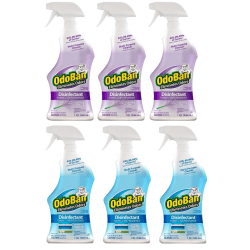 OdoBan Odor Eliminator Disinfectant Spray, Lavender And Fresh Linen Scent, 32 Oz, Case Of 6 Bottles