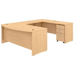 "Bush Business Furniture Studio C U-Shaped Desk With Mobile File Cabinet, 72""W x 36""D, Natural Maple, Standard Delivery"