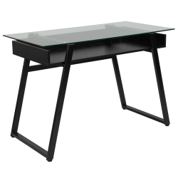 """Flash Furniture 43""""W Glass And Metal Computer Desk, Clear/Black"""