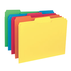 Smead® Color Interior Folders, 1/3 Cut, Letter Size, Assorted Colors, Box Of 100
