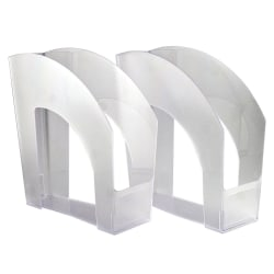 Office Depot® Brand Arched Plastic Magazine Files, Pack Of 4, Clear