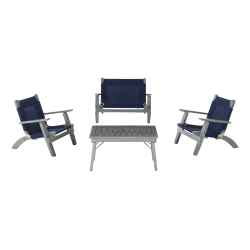 Linon Siegal Youth Outdoor Chair And Table Set, Gray/Navy Blue