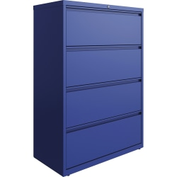"Lorell 36""W Lateral 4-Drawer File Cabinet, Metal, Blue"