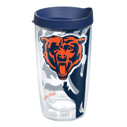 Tervis NFL Tumbler With Lid, 16 Oz, Chicago Bears, Clear