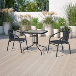 """Flash Furniture Square Glass Metal Table With Rattan Edging And 2 Rattan Chairs, 28""""H x 28""""W x 28""""D, Clear/Black"""