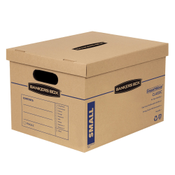 """Bankers Box® SmoothMove Classic Moving Boxes, 15"""" x 12"""" x 10"""", 85% Recycled, Kraft/Blue, Pack Of 10 Boxes"""