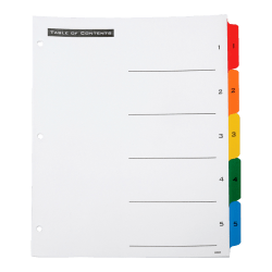 SKILCRAFT® Index Divider Sheets With Numerical Tabs, 1-5, Letter Size, Assorted Colors, Set Of 5 Tabs (AbilityOne 7530-01-364-9489)