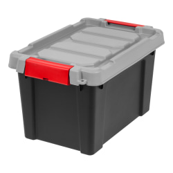 "IRIS® Store It All Plastic Storage Totes, 5 Gallons, 10 3/8"" x 11 5/8"" x 18 1/8"", Black, Case of 4"