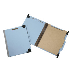 "SKILCRAFT® Hanging File Folders With 4-Section Fastener, 1"" Capacity, Letter Size, 60% Recycled, Light Blue, Box Of 10 (AbilityOne 7530-01-372-3102)"