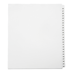 SKILCRAFT® Index Divider Sheets With Numerical Tabs, 26-50, Letter Size, Clear, Set Of 25 (AbilityOne 7530-01-407-2248)