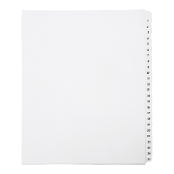 SKILCRAFT® Index Divider Sheets With Numerical Tabs, 1-25, Letter Size, Clear/White, Set Of 25 (AbilityOne 7530-01-407-2250)