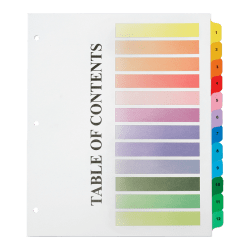 "SKILCRAFT® Numerical Tab Set, 8 1/2"" x 11"", 30% Recycled, Set Of 12, Assorted Colors (AbilityOne 7530-01-621-5258)"