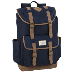 "Trailmaker Buckled Backpack With 17"" Laptop Pocket, Navy/Brown"
