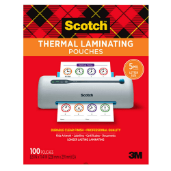 "Scotch® Thermal Laminating Pouches, 8-15/16"" x 11-7/16"", Clear, Pack Of 100 Sheets, TP5854-100"