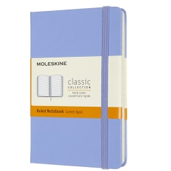 """Moleskine Classic Hard Cover Notebook, 3-1/2"""" x 5-1/2"""", Ruled, 192 Pages (96 Sheets), Hydrangea Blue"""