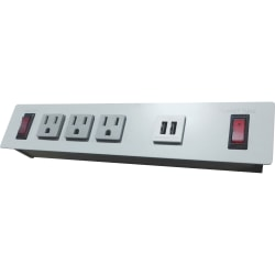 Lorell® Single-Leg Sit-To-Stand Desk 3-Outlet Power Strip/Surge Protector, 10' Cord, Gray, LLR99982