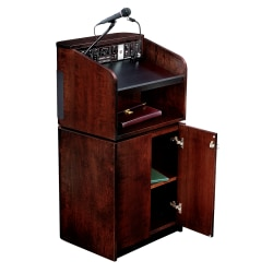 Oklahoma Sound® Tabletop & Base Combo Sound Lectern With Tie Clip/Lavalier Wireless Microphone, Mahogany On Walnut