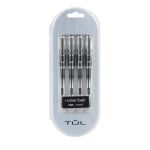 TUL® RB1 Rollerball Pens, Fine Point, 0.5mm, Silver Barrel, Black Ink, Pack Of 4 Pens