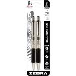 Zebra® F-402 Stainless Steel Retractable Ballpoint Pens, Fine Point, 0.7 mm, Stainless Steel Barrel, Black Ink, Pack Of 2