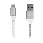 Duracell® Sync-And-Charge Fabric Cable, USB-To-Lightning, 6', White, LE2201