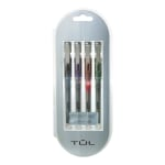 TUL® RB1 Rollerball Pens, Medium Point, 0.7mm, Silver Barrel, Assorted Inks, Pack Of 4 Pens