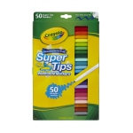 Crayola® Super Tips Washable Markers, Conical Point, Assorted Classic Colors, Box Of 50