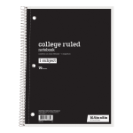 "Just Basics® Spiral Notebook, 7-1/2"" x 10-1/2"", College Ruled, 140 Pages (70 Sheets), Black"