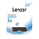 Lexar® JumpDrive® TwistTurn2 USB 2.0 Flash Drive, 64GB, Black, LJDTT2-64GABNABK