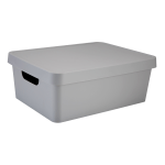 "Realspace™ Medium Storage Box With Lid, 10-15/16 x 14-1/2"" x 5-7/16"", Gray"