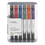 TUL® Permanent Markers, Fine Point, Silver Barrel, Assorted Ink Colors, Pack Of 12 Markers