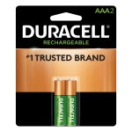 Duracell® NiMH Rechargeable AAA Batteries, Pack Of 2