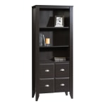 "Sauder® Shoal Creek 69"" 4 Shelf Casual Library with 2 Doors, Brown/Dark Finish, Standard Delivery"