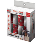 "Executive Pup Heavy-Duty Waste Bags, 9"" x 12-5/8"", Red/White, Box Of 8 Waste Bag Rolls"