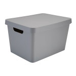 "Realspace™ Large Storage Box With Lid, 10-15/16"" x 14-1/2"" x 8-1/2"", Gray"