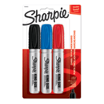 Sharpie® King-Size Permanent Markers, Chisel Tip, Assorted Ink Colors, Silver Barrel, Pack Of 3 Markers