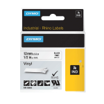 "DYMO® 18444 Rhino Vinyl Black-On-White Labeling Tape, 0.5"" x 11.5'"