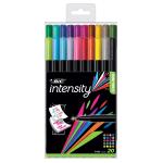 BIC® Intensity Fineliner Marker Pens, Fine Point, 0.4 mm, Black Barrel, Assorted Ink Colors, Pack Of 20 Pens