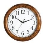 "Realspace® Solid Wood Case Round Quartz Wall Clock, 12"", Honey Pine"