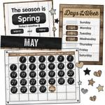 Schoolgirl Style Calendar Bulletin Board Set, Industrial Chic, Preschool - Grade 5