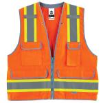 Ergodyne GloWear Safety Vest, Heavy-Duty Surveyors, Type-R Class 2, 4X/5X, Orange, 8254HDZ