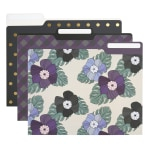 Office Depot® Brand Fashion Paper File Folders, Letter Size, Assorted Colors, Pack Of 6 Folders